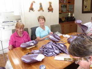 zonta club members making breast cushions