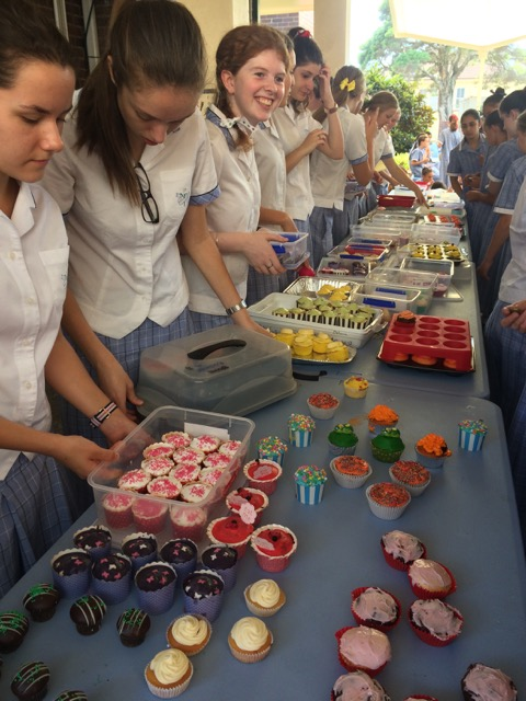 St Mary Star of Sea Z club at their Biggest Morning Tea cake stall